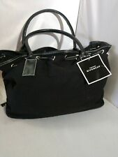 Givenchy Tote, Large Black Canvas Bag, draw string type, leather bottom