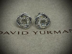 David Yurman Infinity Earrings with White Topaz Sterling Silver 7mm