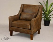 Wooden Leather Armchairs