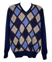 Daniel Cremieux Cashmere Diamond Pattern Sweater V-Neck Men's Size XL