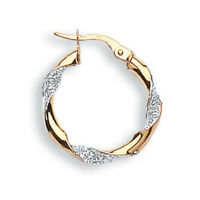 Yellow and White Gold Glitter Finish Hoop Earrings - 9ct 375  - Fully Hallmarked