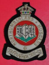 Northumberland Hussars regimental bullion wire blazer badge