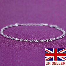 Womens Wrist Bracelet Twisted Rope Chain Fashion Gift 925 Sterling Silver Plated