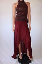 Haute Hippie Bordeaux Halter Sleeveless Embellished Sequins Wrap Long Dress