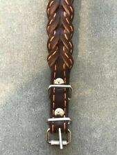 BRAIDED Heavy Duty Genuine Leather Pet Dog Collar Light Brown 13""
