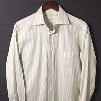 Ermenegildo Zegna Striped Cotton Dress Shirt Mens Size 16 US 41 EU Blue Yellow