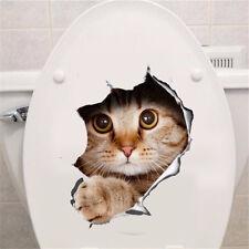 DIY Novelty Hole View Vivid Cats Toilet Sticker Bathroom Living Room Decoration