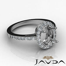 Diamond Engagement Filigree Ring Oval Semi Mount 14k W Gold Halo Pave Set 0.45Ct