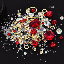 Red Acrylic Rhinestones Alloy Metal Frame Stones Manicure 3D Nail Decorattion