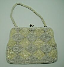 Vintage Cream Colored Bead Clutch Purse