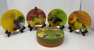 "Pier 1 Imports~Appetizer Plates~Set of 4~6""~Fruit Design~Seasons~H'ordeuvres~NEW"
