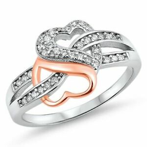 Women's 925 Sterling Silver Rose Gold Plated Heart Infinity Knot CZ Promise Ring