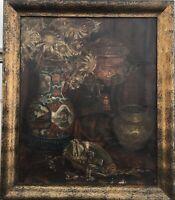 Asiatika Vase Stillleben mit Samowar, Blumen und Antik Schmuck E. Krüger 78 x 67
