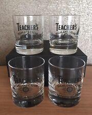 Rare Set Of 2 Teacher/'s Highland Cream Branded Heavy Whisky Glasses GC