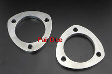 """TWO 3.5"""" OD Exhaust 3 Holes 1/2"""" Mild Steel FLANGE Pipe Collector Joint CatBack"""