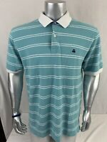 Brooks Brothers 346 Men's Short Sleeve Polo Shirt Size XL Teal White Stripe O169