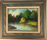 Landscape Oil Painting River Trees Water Rocks Original Artist Signed & Framed