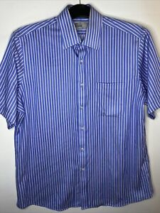 """Marks and Spencer Tailoring Pure Cotton 42cm 16 1/2"""" Striped Blue Short Sleeve"""