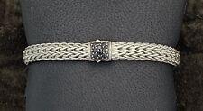 John Hardy Classic Chain Sterling Silver Bracelet Black Sapphire Size S $595