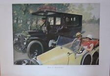 PLANCHE COULEUR ILLUSTRATION 1924 AUTOMOBILES HIET ET AUJOURD' HUI