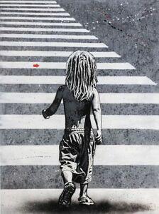Jef Aérosol - Child crossing the street (Not Banksy, Obey)