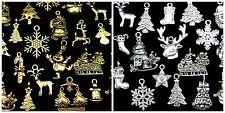 Tibetan Silver or Golden Random Mix Christmas Charms  Festive Pendants Xmas ML