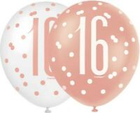 """6 x 12"""" Rose Gold 16 Latex Balloons Girls 16th Birthday Party Decoration Helium"""