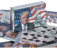 Donald Trump Silver Foil Waterproof Plastic Playing Poker Deck Game Cards USA