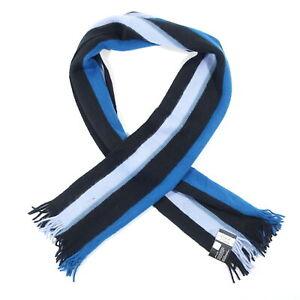 ALFANI STRIPED BLUE BLACK KNIT SOFT SCARVES NECK SCARF MENS NWT NEW