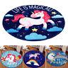 Cartoon Unicorn Cloud Round Floor Mat Kids Bedroom Carpet Living Room Area Rugs