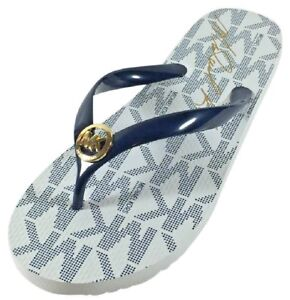 Womens Flip-Flops Michael Kors Thongs White/Navy  10 inches long  Womens Size 8