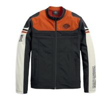 Harley-Davidson Colorblock Soft Shell Jacke Gr. L - Schwarz Orange Beige