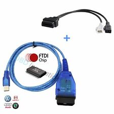VAG-COM KKL OBD2 USB Cable FTDI FT232RL Chip + 2x2 Adapter Cable for VCDS Lite
