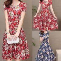 Women Work Elegant Printed Dress Casual O-Neck Short Sleeve Knee Length Dress US