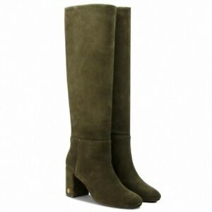 """TORY BURCH LADIES """"BROOKE"""" KNEE HIGH BOOTS OLIVE SUEDE/LEATHER UK 3.5 (36.5/US6)"""