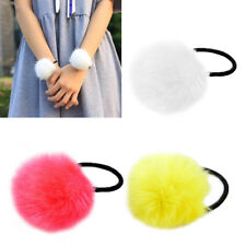 1x Elastic Women Girls Pompom Ball Hairband Rope Ring Hair Band Ponytail Holder