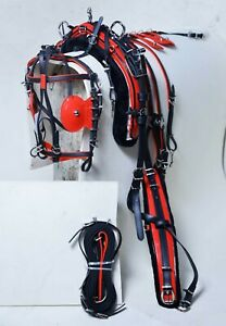 NEW BIOTHANE QUICK HITCH HORSE HARNESS SET BLACK & RED COLOUR COMBINATION