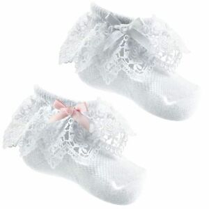 Baby Girl ANKLE SOCKS Frilly Jester Lace Bow