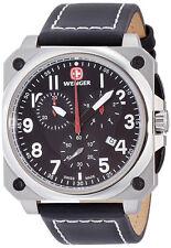 Wenger 77015 AeroGraph Cockpit Black Dial Leather Strap Chronograph Men's Watch