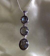 3.75 Ct, Natural, Labradorite Pendant, Trilogy, Platinum Overlay Sterling Silver