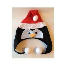 Christmas Santa Penguin Novelty Felt Sequins Hat w/Pom Pom. One Size.