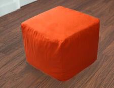 "18X18X18"" Indian Cotton Square Pouf Cover Orange Pouf Ottoman Foot Stool Covers"