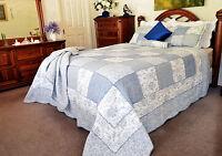 Coverlet Vintage Patchwork 100% Cotton No Synthetic Fibre King Bedspread Blue