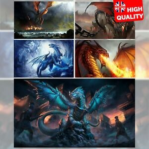 Fantasy Dragon Textless Poster Art Print | A5 A4 A3 A2 A1 |