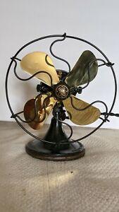 Antique Electric Fan By General Electric 5 Inch Brass Blade Still Runs