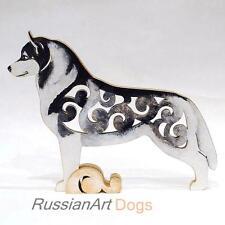 Siberian husky figurine, statue made of wood