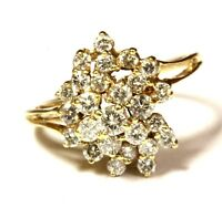 14k yellow gold .89ct SI1 H round diamond cluster band ring 2.9g vintage womens