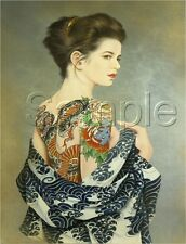 VINTAGE TATTOO Asian girl Tattooed Dragon Back Lotus Sleeve *CANVAS* ART PRINT