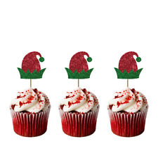 Christmas Elf Hat Cupcake Toppers - Pack of 8 - Glittery Xmas Cake Topper