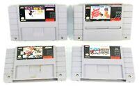Super Nintendo SNES 4 Game Sports Lot Hockey,Baseball,Football